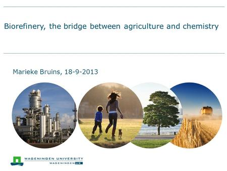 Biorefinery, the bridge between agriculture and chemistry Marieke Bruins, 18-9-2013.