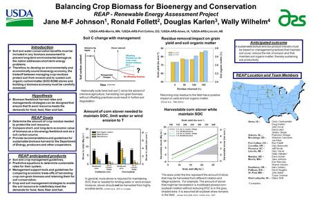 Soil C change with management Balancing Crop Biomass for Bioenergy and Conservation REAP - Renewable Energy Assessment Project Jane M-F Johnson 1, Ronald.