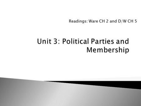 Readings: Ware CH 2 and D/W CH 5.  What are supporters? Members? Activists?  What role do they play in the functioning of political parties?  How do.