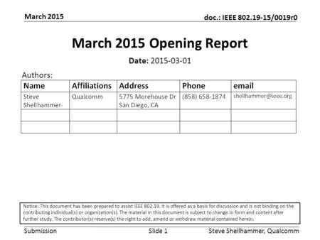 Submission doc.: IEEE 802.19-15/0019r0 March 2015 Steve Shellhammer, QualcommSlide 1 March 2015 Opening Report Date: 2015-03-01 Authors: Notice: This document.