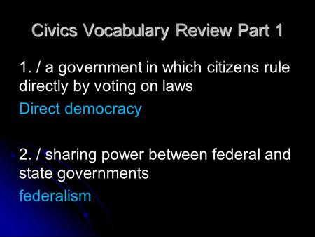 Civics Vocabulary Review Part 1