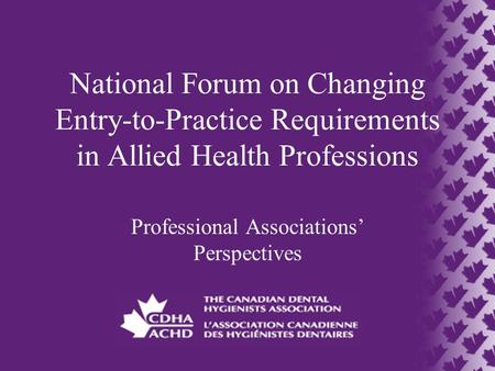National Forum on Changing Entry-to-Practice Requirements in Allied Health Professions Professional Associations' Perspectives.