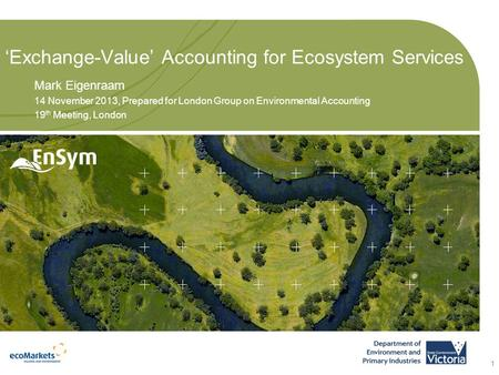 'Exchange-Value' Accounting for Ecosystem Services Mark Eigenraam 14 November 2013, Prepared for London Group on Environmental Accounting 19 th Meeting,