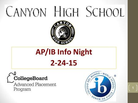 AP/IB Info Night 2-24-15 1. About AP- Suena Chang Mrs. Amaya- AP Euro Teacher Verdi & Nima- students About IB program- Mr. Svoboda What We'll Cover Tonight.