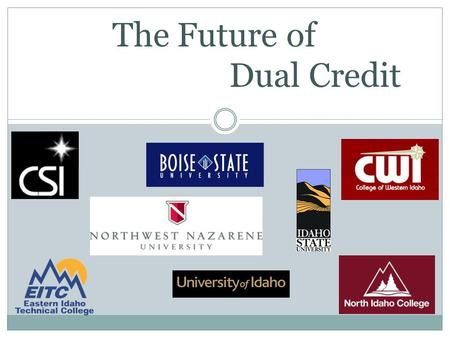 The Future of Dual Credit. What is College? A degree or credential beyond the high school level, including:  Bachelors degree programs and beyond  Apprenticeships.