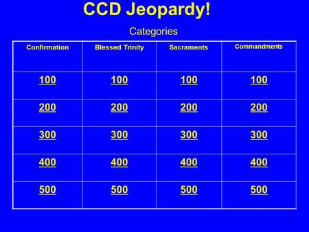 CCD Jeopardy! ConfirmationBlessed TrinitySacraments Commandments 100 200 300 400 500 Categories.