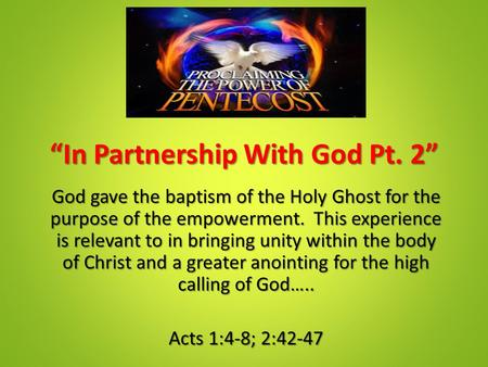 """In Partnership With God Pt. 2"""