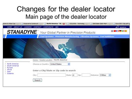 Changes for the dealer locator Main page of the dealer locator.