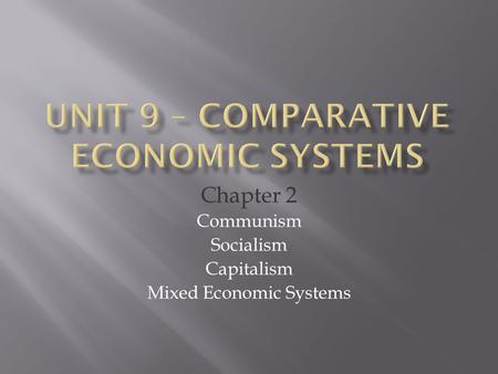 Chapter 2 Communism Socialism Capitalism Mixed Economic Systems.