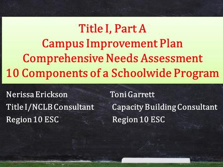 Title I, Part A Campus Improvement Plan Comprehensive Needs Assessment 10 Components of a Schoolwide Program Nerissa Erickson Toni Garrett Title I/NCLB.