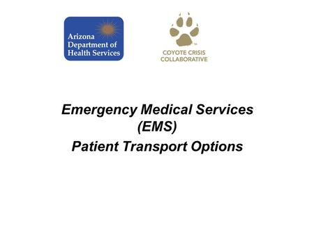 Emergency Medical Services (EMS) Patient Transport Options.