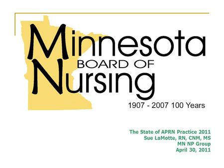 The State of APRN Practice 2011 Sue LaMotte, RN, CNM, MS MN NP Group April 30, 2011.
