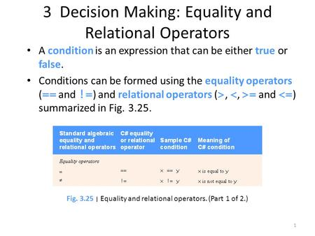 3 Decision Making: Equality and Relational Operators A condition is an expression that can be either true or false. Conditions can be formed using the.