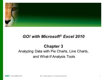 With Microsoft ® Excel 2010© 2011 Pearson Education, Inc. Publishing as Prentice Hall1 GO! with Microsoft ® Excel 2010 Chapter 3 Analyzing Data with Pie.
