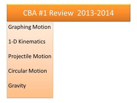 CBA #1 Review 2013-2014 Graphing Motion 1-D Kinematics Projectile Motion Circular Motion Gravity Graphing Motion 1-D Kinematics Projectile Motion Circular.