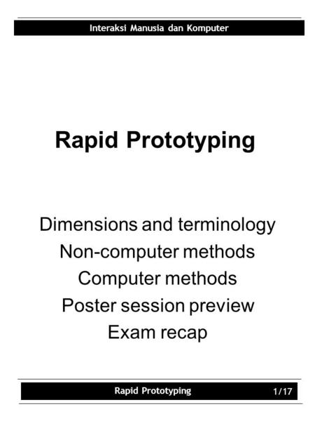 Rapid Prototyping Dimensions and terminology Non-computer methods