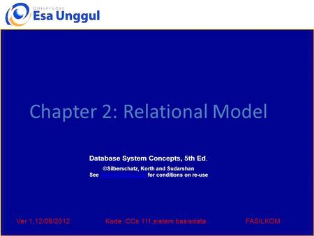 Ver 1,12/09/2012Kode :CCs 111,sistem basisdataFASILKOM Chapter 2: Relational Model Database System Concepts, 5th Ed. ©Silberschatz, Korth and Sudarshan.