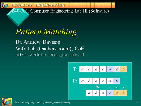 240-301 Comp. Eng. Lab III (Software), Pattern Matching1 Pattern Matching Dr. Andrew Davison WiG Lab (teachers room), CoE 240-301,