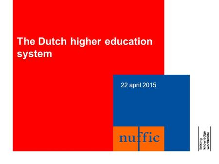 22 april 2015 The Dutch higher education system. 22 april 20152 Higher education in Holland 14 research-oriented universities (Ba/Ma/PhD) Train students.