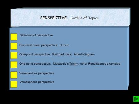 PERSPECTIVE PERSPECTIVE : Outline of Topics Definition of perspective Empirical linear perspective: Duccio One-point perspective: Railroad track; Alberti.