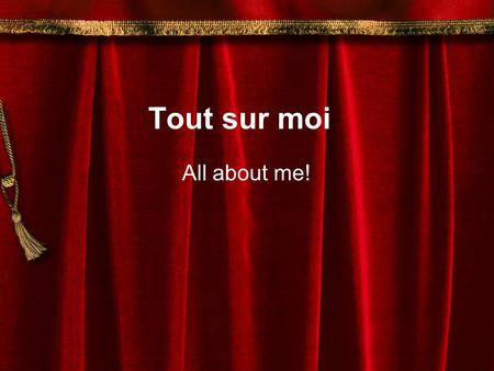 Tout sur moi All about me!. Due … 100%-20 points each category 1. 8 pages/sections/slides 2. Pictures in color 3. Super grammar-spelling,gender,etc. 4.