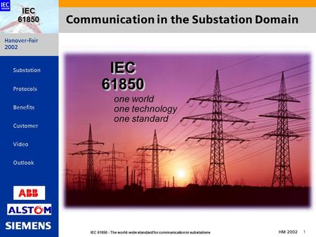 Hanover-Fair 2002 IEC 61850 - The world-wide standard for communication in substations HM 2002 1 IEC 61850   Substation Protocols Benefits Customer.
