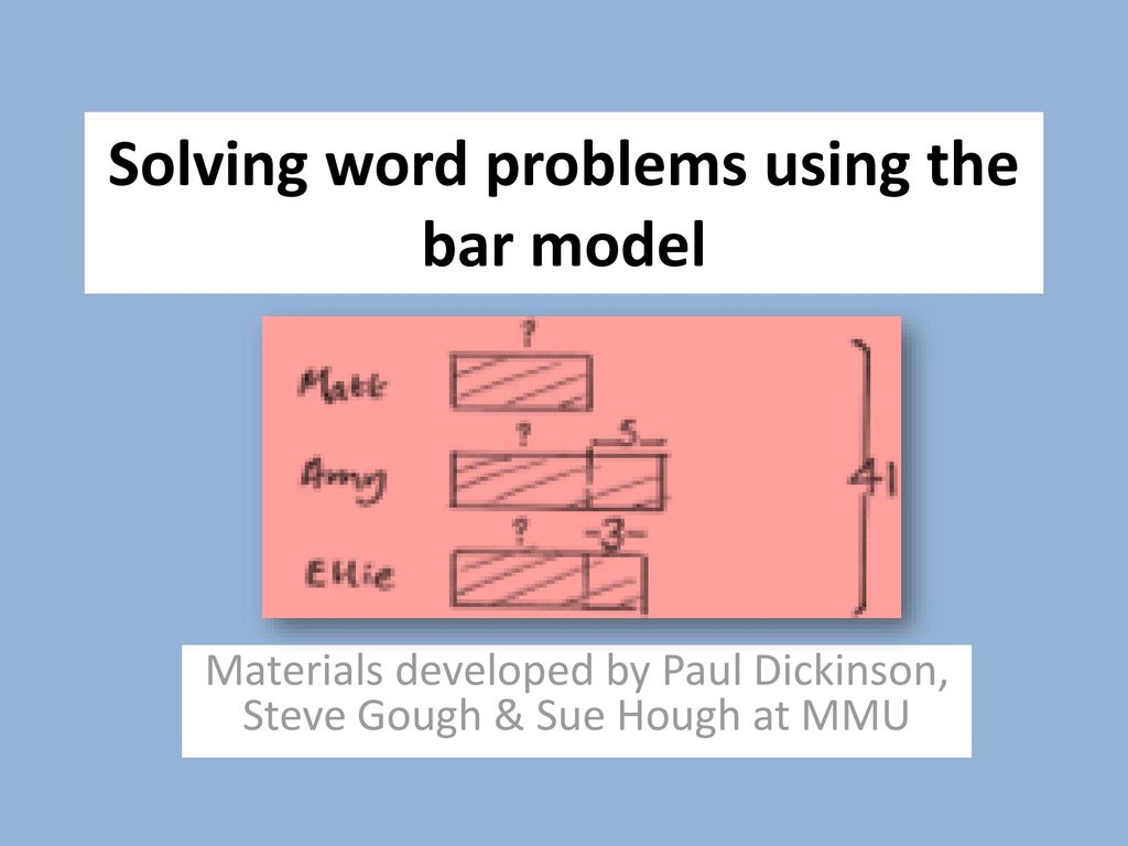 Solving Word Problems Using The Bar Model Ppt Download
