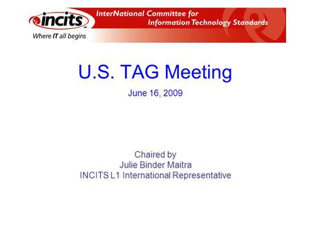 U.S. TAG Meeting Chaired by Julie Binder Maitra INCITS L1 International Representative June 16, 2009.