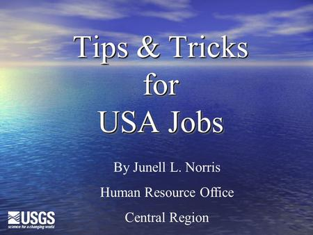 Tips & Tricks for USA Jobs By Junell L. Norris Human Resource Office Central Region.