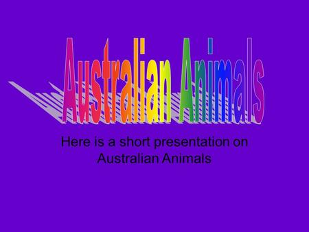 Here is a short presentation on Australian Animals