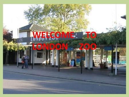 WELCOME TO LONDON ZOO. London Zoo is one of the most famous of all London attractions. It is situated in Regent's Park and was opened in 1828 by the Zoological.