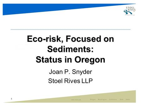 1 Eco-risk, Focused on Sediments: Status in Oregon Joan P. Snyder Stoel Rives LLP.