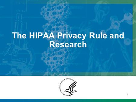 1 The HIPAA Privacy Rule and Research This presentation will probably involve audience discussion, which will create action items. Use PowerPoint to keep.