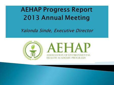 AEHAP Progress Report 2013 Annual Meeting Yalonda Sinde, Executive Director.