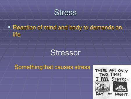 Stress  Reaction of mind and body to demands on life Stressor Something that causes stress.
