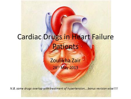 Cardiac Drugs in Heart Failure Patients Zoulikha Zair 28 th May 2013 N.B. some drugs overlap with treatment of hypertension….bonus revision wise!!!!