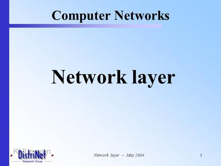 Network layer -- May 20041 Network layer Computer Networks.