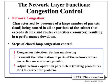 The Network Layer Functions: Congestion Control