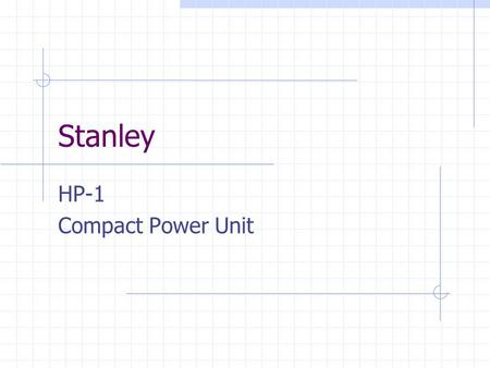 Stanley HP-1 Compact Power Unit.
