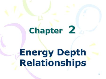 Energy Depth Relationships