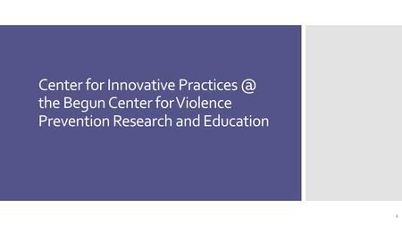 Center for Innovative the Begun Center for Violence Prevention Research and Education 1.