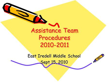 Assistance Team Procedures 2010-2011 East Iredell Middle School Sept 15, 2010.