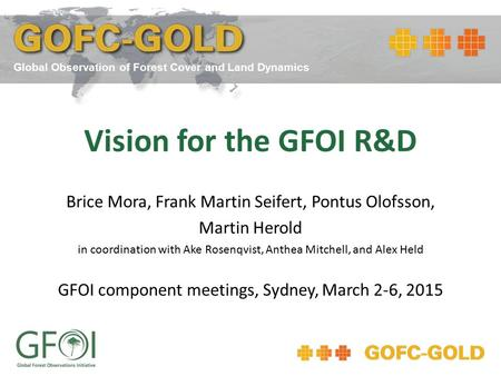 Vision for the GFOI R&D Brice Mora, Frank Martin Seifert, Pontus Olofsson, Martin Herold in coordination with Ake Rosenqvist, Anthea Mitchell, and Alex.