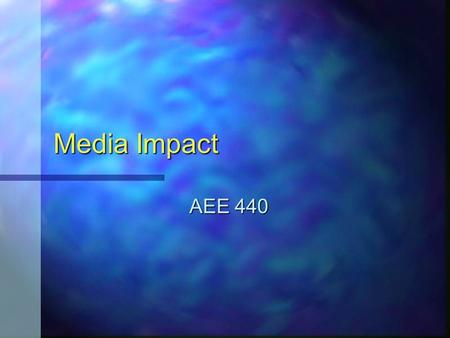 Media Impact AEE 440. Philosophical Direction Technology is more than machines -- it is a way of thinking Technology is more than machines -- it is a.