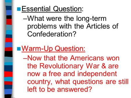 What were the long-term problems with the Articles of Confederation?