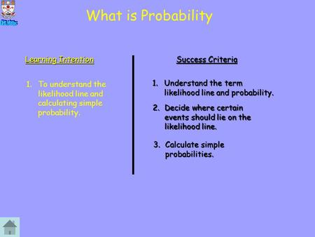 What is Probability Learning Intention Success Criteria