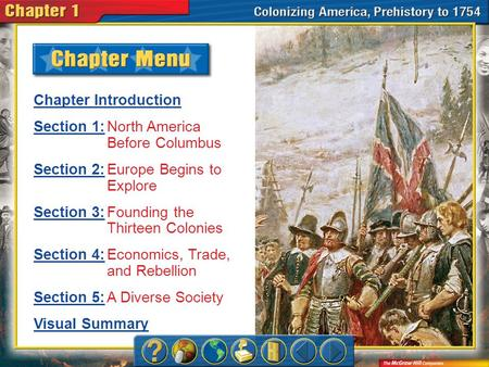 Chapter Menu Chapter Introduction Section 1:Section 1:North America Before Columbus Section 2:Section 2:Europe Begins to Explore Section 3:Section 3:Founding.