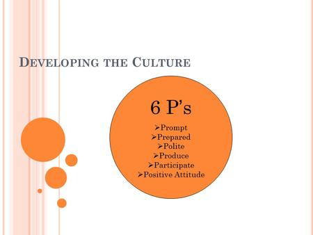 D EVELOPING THE C ULTURE 6 P's  Prompt  Prepared  Polite  Produce  Participate  Positive Attitude.