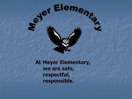 At Meyer Elementary, we are safe, respectful, responsible.