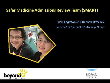Safer Medicine Admissions Review Team (SMART) Carl Eagleton and Hannah O'Malley on behalf of the SMART Working Group.